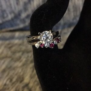 Silver tone Dual Red Ruby Ring A57